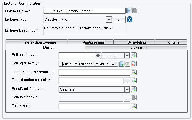ACORD AL3 Listener Basic Configuration Options