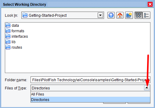 Select List of All Files or Directories in eiConsole Route Management