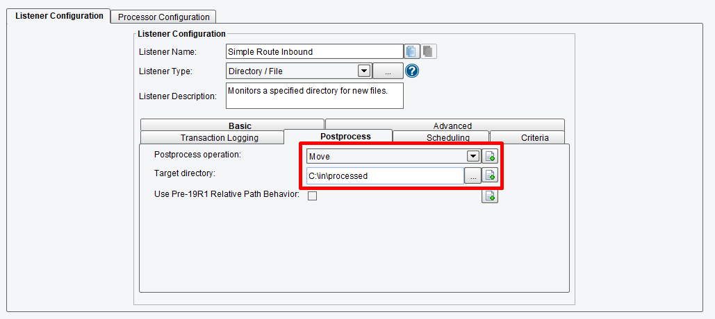 Configure the Post-Process Operation for theListener.