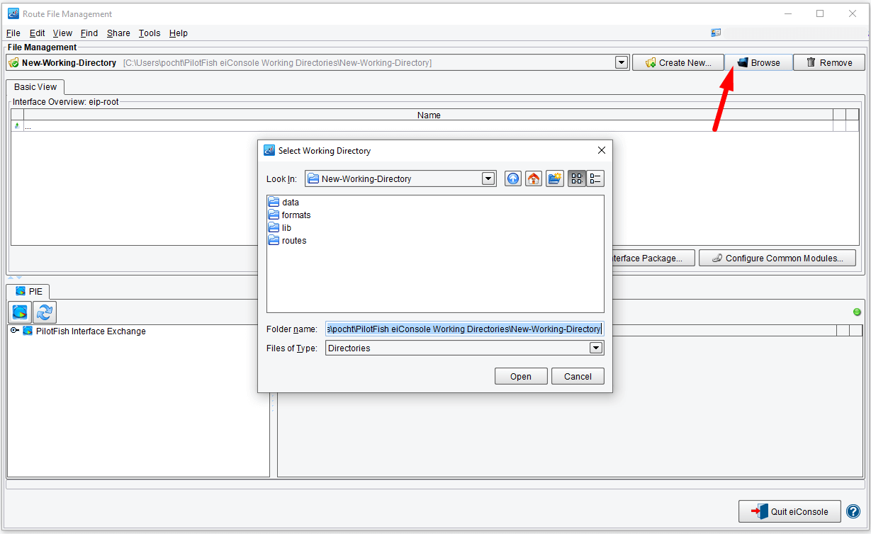 Route File Management Working Directory Created in eiConsole