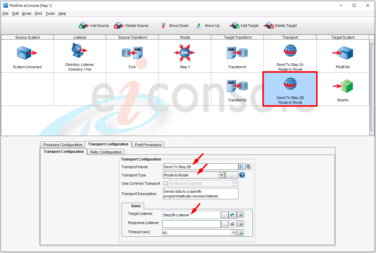 Click the second Transport icon in the main route grid to open the Transport Configuration panel